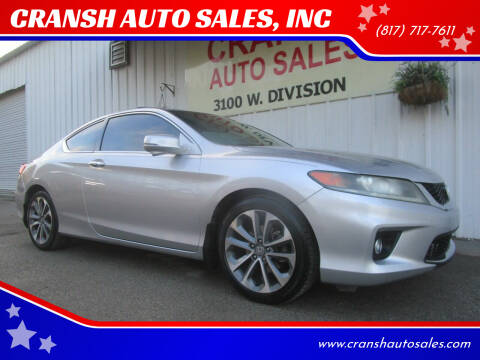 2013 Honda Accord for sale at CRANSH AUTO SALES, INC in Arlington TX