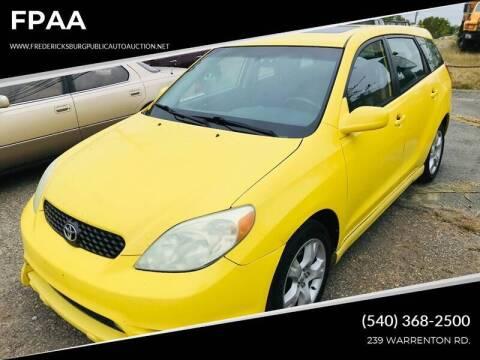 2004 Toyota Matrix for sale at FPAA in Fredericksburg VA