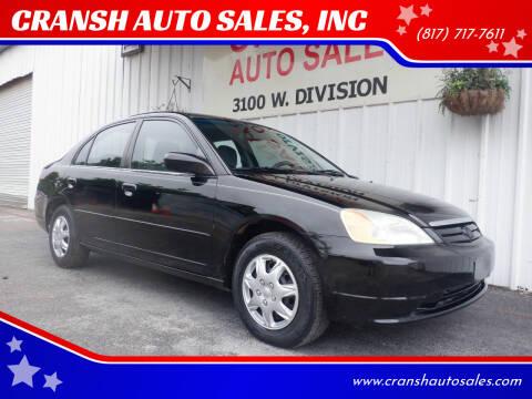 2001 Honda Civic for sale at CRANSH AUTO SALES, INC in Arlington TX