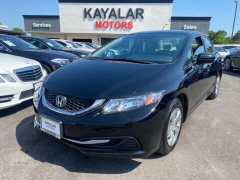 2014 Honda Civic for sale at KAYALAR MOTORS in Houston TX