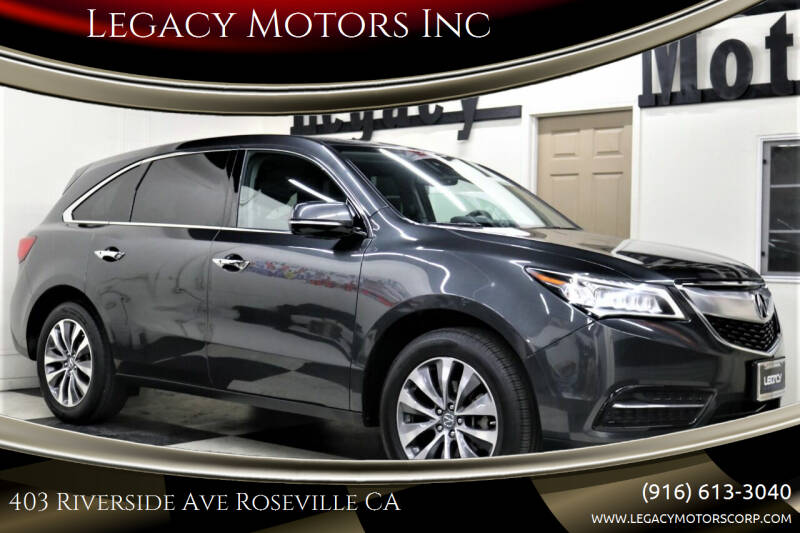 2015 Acura MDX for sale at Legacy Motors Inc in Roseville CA