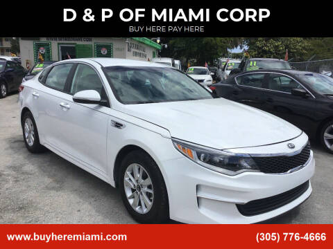 2016 Kia Optima for sale at D & P OF MIAMI CORP in Miami FL