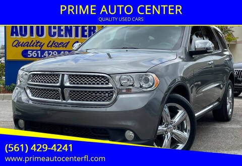 2011 Dodge Durango for sale at PRIME AUTO CENTER in Palm Springs FL