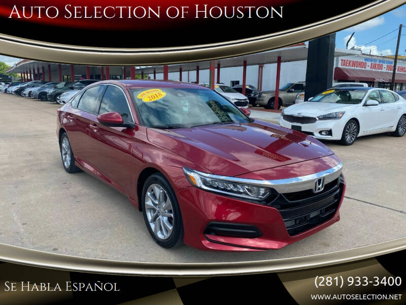 2018 Honda Accord for sale at Auto Selection of Houston in Houston TX