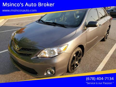 2011 Toyota Corolla for sale at Msinco's Auto Broker in Snellville GA
