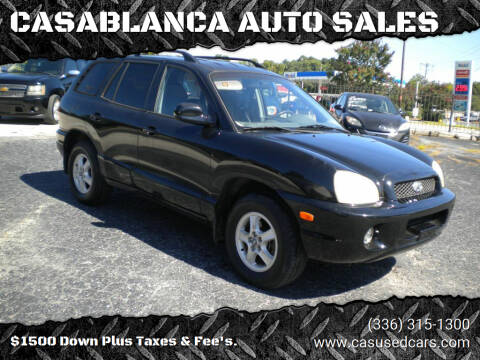 2002 Hyundai Santa Fe for sale at CASABLANCA AUTO SALES in Greensboro NC