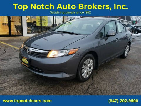 2012 Honda Civic for sale at Top Notch Auto Brokers, Inc. in Palatine IL