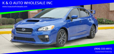 2017 Subaru WRX for sale at K & O AUTO WHOLESALE INC in Jacksonville FL