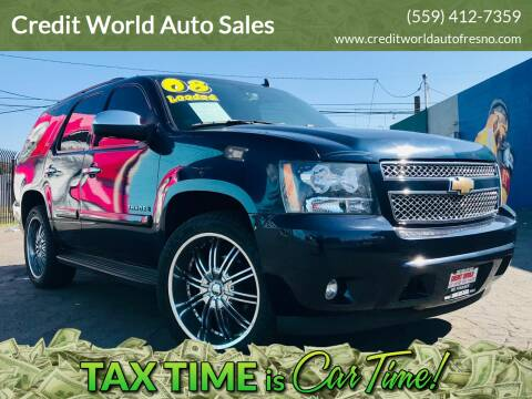 2008 Chevrolet Tahoe for sale at Credit World Auto Sales in Fresno CA