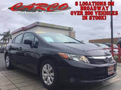 2012 Honda Civic for sale at CARCO SALES & FINANCE in Chula Vista CA