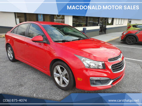 2015 Chevrolet Cruze for sale at MacDonald Motor Sales in High Point NC
