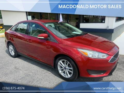 2015 Ford Focus for sale at MacDonald Motor Sales in High Point NC