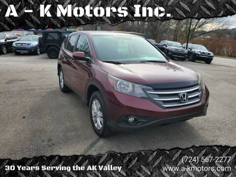 2013 Honda CR-V for sale at A - K Motors Inc. in Vandergrift PA