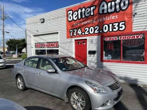 2012 Infiniti G37 Sedan for sale at Better Auto in Dartmouth MA