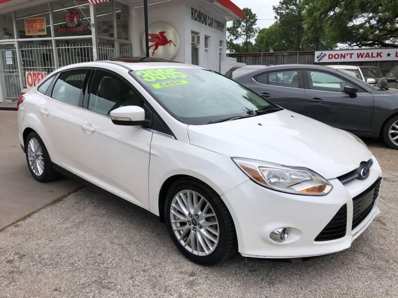 2012 Ford Focus for sale at Richmond Car Co in Richmond TX