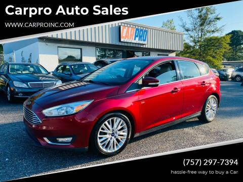 2016 Ford Focus for sale at Carpro Auto Sales in Chesapeake VA