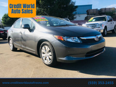 2012 Honda Civic for sale at Credit World Auto Sales in Fresno CA