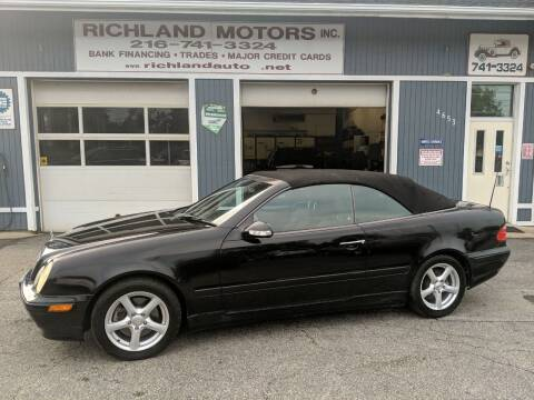 2002 Mercedes-Benz CLK for sale at Richland Motors in Cleveland OH