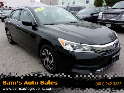 2016 Honda Accord for sale at Sam's Auto Sales in Cranston RI