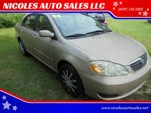 2006 Toyota Corolla for sale at NICOLES AUTO SALES LLC in Cream Ridge NJ