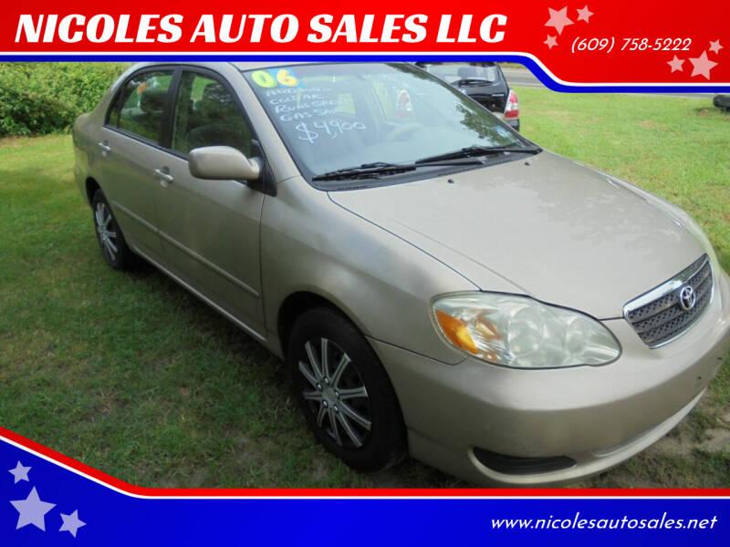 2006 Toyota Corolla for sale at NICOLES AUTO SALES LLC in Cream Ridge NJ