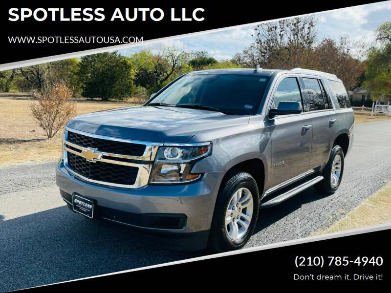 2020 Chevrolet Tahoe for sale at SPOTLESS AUTO LLC in San Antonio TX