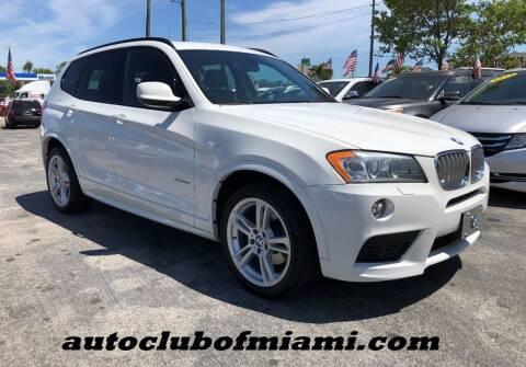 2014 BMW X3 for sale at AUTO CLUB OF MIAMI in Miami FL