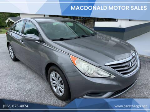 2013 Hyundai Sonata for sale at MacDonald Motor Sales in High Point NC