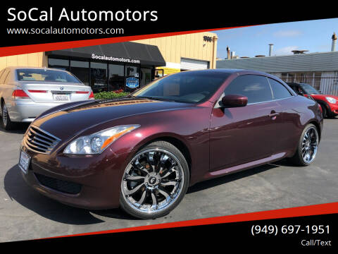 2010 Infiniti G37 Convertible for sale at SoCal Automotors in Costa Mesa CA