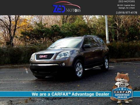 2010 GMC Acadia for sale at Zed Motors in Raleigh NC