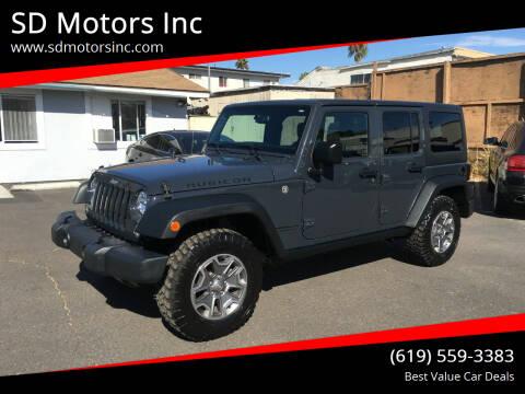 2016 Jeep Wrangler Unlimited for sale at SD Motors Inc in La Mesa CA