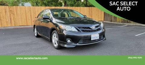 2011 Toyota Corolla for sale at SAC SELECT AUTO in Sacramento CA