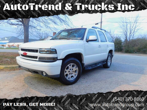 2005 Chevrolet Tahoe for sale at AutoTrend & Trucks Inc in Fredericksburg VA