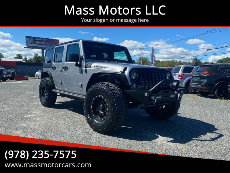 2016 Jeep Wrangler Unlimited for sale at Mass Motors LLC in Worcester MA