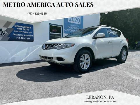 2012 Nissan Murano for sale at METRO AMERICA AUTO SALES of Lebanon in Lebanon PA