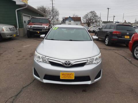 2012 Toyota Camry for sale at Brothers Used Cars Inc in Sioux City IA